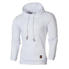 Mens Sweatshirt, Men's Autumn Long Sleeve Plaid Hoodie Hooded Sweatshirt Outwear Top Blouse - White X-Large Hoodie Sweatshirts, Sweatshirt Homme, Pullover Hoodie, Long Hoodie, Warm Coats For Men, Sweat Shirt, Amazon Mode, Amazon Fr, Mens Winter Parka