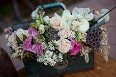 Industrial metal flower boxes