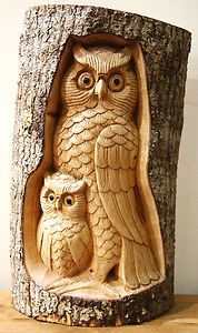 Natural Wood Carving: Owl& 1 Baby In Tree Trunk: H32.5cm