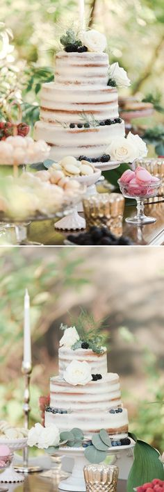Blackberries and Roses on an Almost Naked Cake - A PRINCESS INSPIRED BLOG   Blush Pink and Gold Princess Styled Inspiration