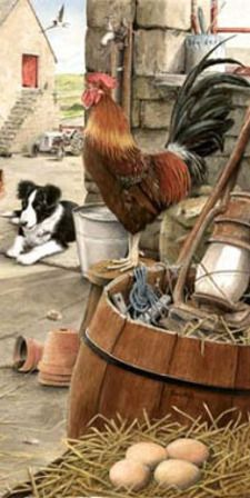 Rooster & Border Collie..Painting