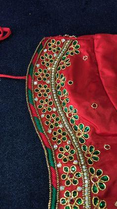 Long Dress Design, Baby Dress Design, Magam Work Designs, Traditional Blouse Designs, Mirror Work Blouse Design, Hand Work Embroidery, Blouse Neck Designs, Saree, Simple