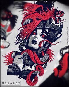 Tattoo Sketches, Tattoo Drawings, Body Art Tattoos, Girl Tattoos, Sleeve Tattoos, Tatoos, Neo Tattoo, Medusa Tattoo, Tattoo Ink