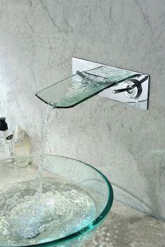 Glass Sink Ideas For Bathroom. Glass Bowl Sink With Glass Waterfall Faucet Desig… Glass Sink Ideas For Bathroom. Glass Bowl Sink With Glass Waterfall Faucet. Glass Waterfall, Waterfall Faucet, Waterfall Design, Indoor Waterfall, Home Interior Design, Interior And Exterior, Wall Exterior, Glass Bowl Sink, Modern Sink