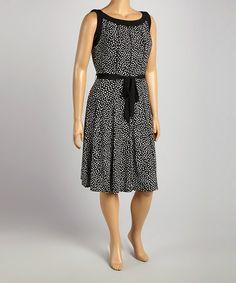Another great find on #zulily! Black & White Dot Tie-Waist Sleeveless Dress - Plus by Glamour #zulilyfinds