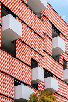 K/R designed Barricade, an orange and white patterned portion of a car park that takes cues from traffic barriers in the US.