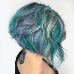 Gorgeous grey, mint and aqua bob // mermaid hair // colorful hair #MensFashionHairstyles