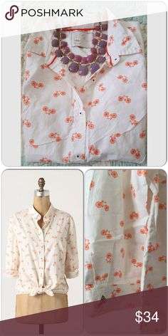 """Anthropologie bicycle shirt Super cute shirt with orange print of bicycle. Great condition like new. Brand is Postage from Antho. Bust 20"""" laying flat, length 26"""" Anthropologie Tops"""