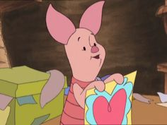 Piglet with a Valentine Piglet Winnie The Pooh, Winnie The Pooh Friends, Vintage Winnie The Pooh, Eeyore, Cute Cartoon Pictures, Cute Cartoon Drawings, Nasu, Totally Spies, Bear Cartoon