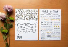 Rustic Chic Wedding Invitation With Tree & Mason Jar Illustration Summer Wedding, Our Wedding, Wedding Ideas, Rustic Wedding, Chic Wedding, Vintage Wedding Stationery, Mason Jar Wedding Invitations, Rustic Chic, Marry Me