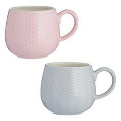 Stoneware Mugs, Earthenware, White Rims, Color Games, Small Plates, Mugs Set, Mug Cup, Emboss, Pink Grey