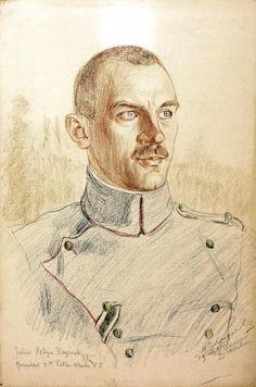 Rtm. Juliusz Ostoja – Zagórski, dowódca 2. pułku ułanów II Brygady, rys. Wincenty Wodzinowski