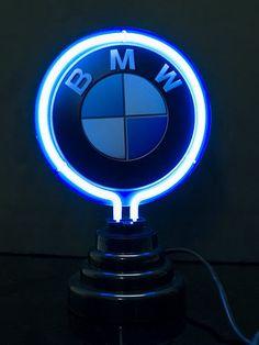 BMW Auto Logo Blue Desktop Neon Bar Mancave