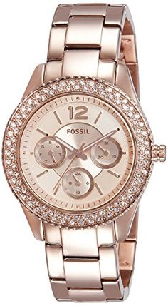Fossil Women's Stella Rose Gold-Tone Stainless Steel Bracelet Watch -- Be sure to check out this awesome watch. Fossil Watches, Cool Watches, Trendy Watches, Ladies Watches, Women's Watches, Stella Rose, Fashion Accessories, Jewelry Accessories, Beautiful Watches