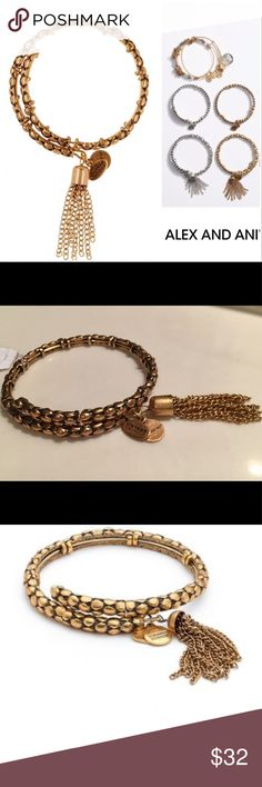 "NEW Alex and Ani Tassel Coil Bracelet Take advantage of this beautiful textured bracelet by Alex & Ani.  Measures 7.5"" L x  .25 W, Rafaelian gold, made in USA, NEW with tags. Alex & Ani Jewelry Bracelets"