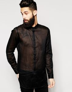 ASOS Shirt In Sheer Fabric With Mesh Back