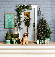 This winter front door display is layered with holiday cheer. See how you can personalize your home's entrance with holiday front door decorations, including evergreen wreaths, garlands, pinecones, and pops of plaid. Porch Christmas Tree, Diy Christmas Decorations For Home, Diy Christmas Garland, Christmas Front Doors, Christmas Greenery, Merry Christmas, Country Christmas, Antique Christmas, Primitive Christmas
