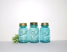 Vintage Jars Aqua Blue Mason by CheekyVintageCloset on Etsy, $34.00