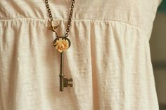 Skeleton key necklace, gem or rose, long chain  Gems: Emerald, Ruby, Sapphire, Diamond, Pearl
