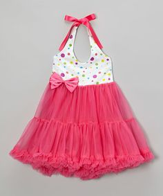 Look what I found on #zulily! Fuchsia Polka Dot Halter Dress - Toddler #zulilyfinds