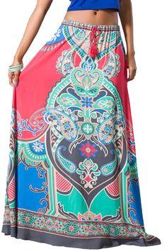 Womens Coral Tribal Print Ethnic Long Full Length Boho Gypsy Maxi Skirt
