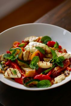 Grilled Pepper, Zucchini and Halloumi salad  Halloumi...one of THE best cheeses on the planet!!