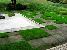 """replace grass with some exposed aggregate 18"""" x 18"""" pavers to achive this zen-like look."""