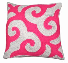 Brightly coloured patterned Felt cushion, handmade made in the mountains of Kyrgyzstan using traditional techniques http://feltrugs.co.uk
