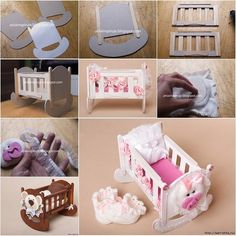 doll furniture How to Make Cute Doll Crib from Cardboard and Popsicle Stick Would be cute for a barbie or to use for a babyshower! Popsicle Stick Diy, Popsicle Crafts, Craft Stick Crafts, Diy Projects With Popsicle Sticks, Diy Barbie Furniture, Dollhouse Furniture, Cardboard Furniture, Sticks Furniture, Barbie Doll House