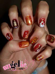 Christmas Nail Art  #christmas #nails #art Gel Nails, Nail Polish, Christmas Nail Art, Class Ring, Delicate, Hand Painted, Nailart, Art Ideas, Gel Nail