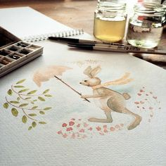 Easter Bunny is prepared for April Showers © Goodputty #easter #watercolor #art