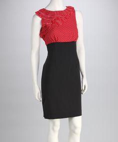Take a look at this Jemma Apparel Salmon & Black Polka Dot Ruffle Dress on zulily today!
