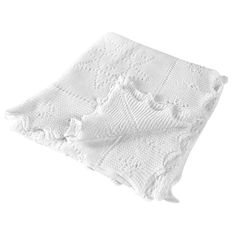 An adorable white cotton baby shawl with a pretty stars and moon pattern and hand-finished scalloped edges. Makes a great baby shower gift. Baby Shawl, Pretty Star, Moon Design, Soft And Gentle, Newborn Baby Gifts, Stars And Moon, Baby Wearing, Beautiful Babies, Christening