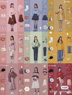 Korean Girl Fashion, Korean Fashion Trends, Ulzzang Fashion, Korean Street Fashion, Korea Fashion, Asian Fashion, Kpop Fashion Outfits, 90s Fashion, Retro Fashion