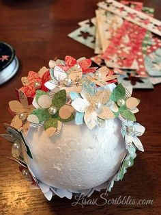 I'm going to admit I have a couple addictions, shoes, and DIY. So whenI get creative things like De… Styrofoam Ball Crafts, Decor Crafts, Diy Crafts, Tree Crafts, Christmas Bulbs, Christmas Decorations, Christmas Paper, Christmas Ideas, Globe Decor