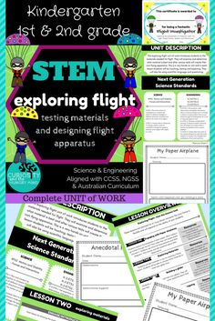 Science K-2 STEM Lessons exploring flight. Making paper airplanes, investigating materials best for flying. Designing a glider and a parachute. Students will be excited about these hand-on activities. Have fun AND learn!