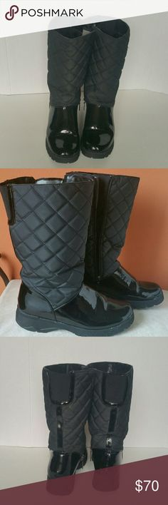 Not your average Rain winter boots! Quilted and patent design. Thick soles. Padded/fur lining. Your feet will stay warm and dry no matter how cold it is outside! Due to patent design, very minor, barely noticeable scuffing. Overall, shoes are well kept and are in great condition. Shoes Winter & Rain Boots