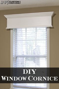 Easy DIY Window Cornice - - My house has pretty boring windows. A little because of the architecture of the house and a little because of the fact that I hate curtains. So we just have wide blinds in all of our windows. Bedroom Windows, Living Room Windows, Blinds For Windows, Bedroom Curtains, Molding Around Windows, Valances For Living Room, Living Rooms, Gypsy Curtains, Coastal Curtains