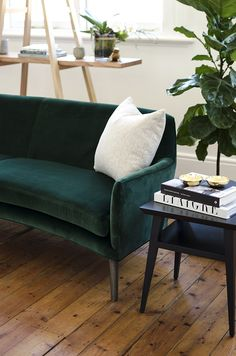 The Stanley Sofa by Arthur G is a curved design, upholstered in green velvet. Perfect for smaller living areas, the Stanley Sofa is Made in Australia. Image and Styling by Coffee With Me Small Living, Living Area, Living Rooms, Stanley Sofa, Custom Furniture, Furniture Design, Green Velvet Sofa, Shelving, Love Seat