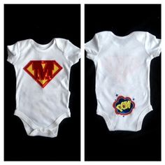 Personalized Superhero Onesie Monogram Baby Boy Onesie with Pow on the Butt .... Perfect for Twins ...  Gift Set