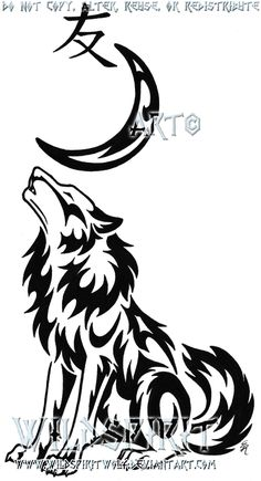 76232cd09 This is 's completed tattoo of a tribal style howling wolf sitting beneath  a crescent moon and the kanji for