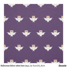 Halloween fabric white bats on purple background