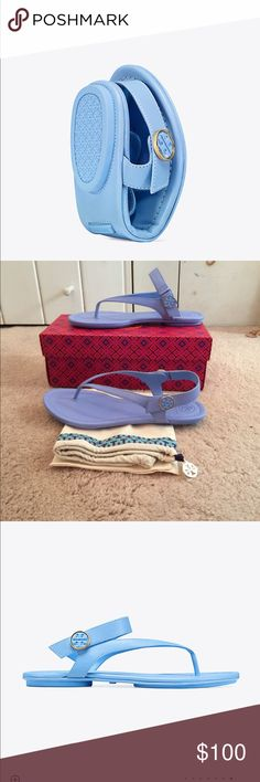 🆕 Tory Burch Minnie Travel Sandal 💯% authentic Tory Burch Minnie Travel Sandal NIB convertible packable design leather thong has split rubber sole for flexibility can fold to fit into tote or luggage double T logo on pivoting strap with elastic Inset allows for sling back or open back look. Himalaya Blue never been worn travel bag included Tory Burch Shoes Sandals