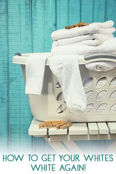 Best ways to get your white clothes bright and white again. Top tips from a busy mum to help with the laundry. Get rid of yellow and grey on your white clothes with these simple and gentle ways to brighten those whites. Source by clothes fashion Washing White Clothes, Cleaning White Clothes, White Clothes Whiter, Laundry Whites Whiter, Whiter Whites, Tips And Tricks, Brighten Whites, Grey Stain, Laundry Hacks