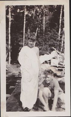 Vintage Antique Photograph Two Young Boys - One Wearing Toga Sheet in Woods