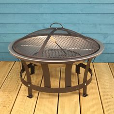A versatile Fire Pit that can also double up as a Barbecue.This stylish fire pit barbecue adds a modern look for your patio and decking areas in the garden, whilst adding atmosphere, light and heat. Long lasting and durable with a 64cm fire bowl, this fire pit comes complete with a protective mesh lid, bbq grill and all fixings. Easy to clean and empty it can be used with charcoal and small pieces of wood.Steel frameH<strong> 50cm </strong>x W<strong> 64cm</strong>