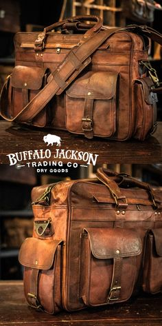 Men's vintage full-grain brown leather pilot briefcase bag. Large size fits up to 18-inch laptops. Handcrafted to handle a lifetime of business, luxury, adventure, and more. Rugged leather products to rival any you'll find from Crazy Horse, Michael Kors, Nordstrom - you name it. Waxed canvas version also available.