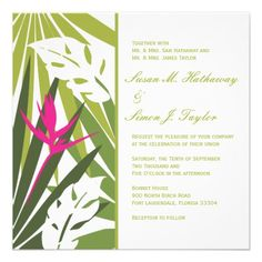 Tropical Floral Wedding Invitation - Green and Pin