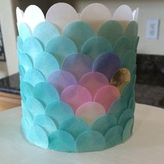 Wafer paper mermaid scale cake with airbrushed accents
