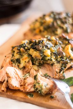 Shrimp & Spinach Stuffed Salmon from The Healthy Foodie